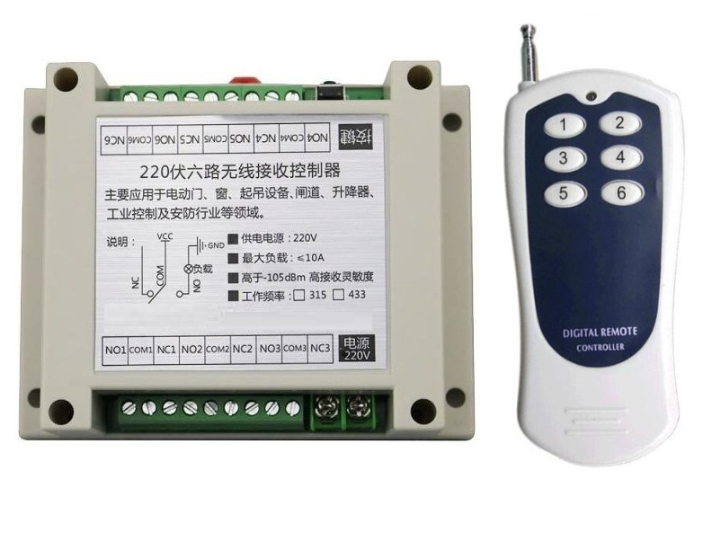 AC220V 6CH 10A RF Wireless Remote Control Switch System Transmitter+Receiver,315/433 MHZ /lamp/ window/Garage Doors small ac220v remote control switch long range transmitter receiver 200 3000m lamp light led remote lighting switch 315 433 92mhz