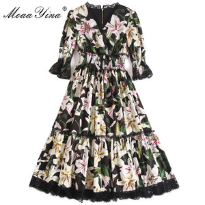 Image 3 - MoaaYina Fashion Designer Runway dress Spring Summer Women Dress V neck lily Floral Print Elegant Cotton Dresses