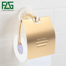 FLG Toilet Paper Roll Holder Wall Mount Space Aluminum Rack Gold With White Bathroom Accessorie