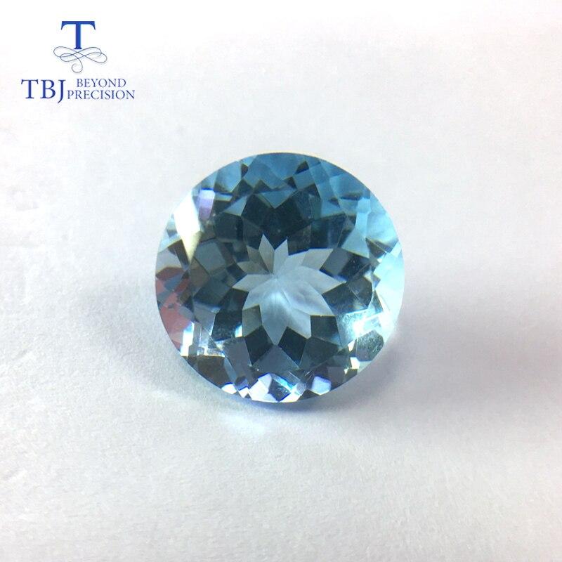 Tbj, topaze bleue ciel grand côté naturel coupe ronde 14mm, pierre gemme lâche 12ct pour bijoux à bricoler soi-même
