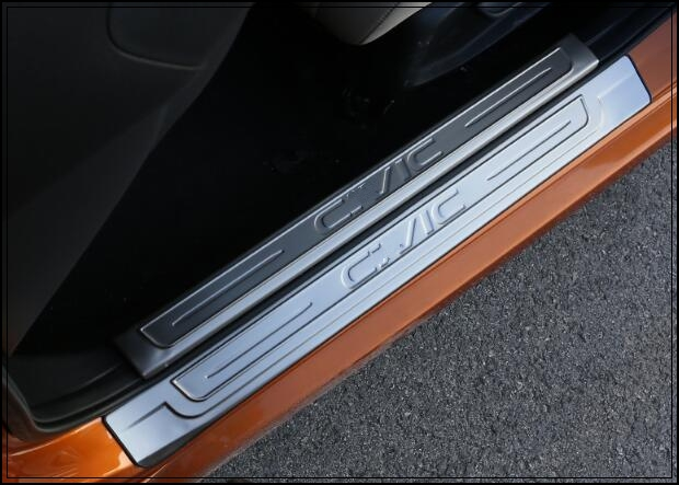 Higher star stainless steel 8pcs(4pcs internal+4pcsexternal)door sills scuff footplate,protecion plate for Honda CIVIC 2016