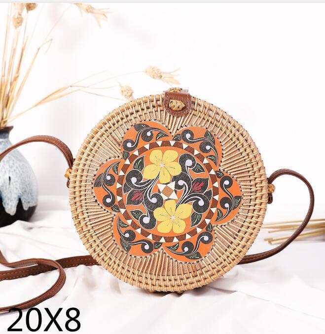 Woven Rattan Bag Round Straw Shoulder Bag Small Beach HandBags Women Summer Hollow Handmade Messenger Crossbody Bags 1