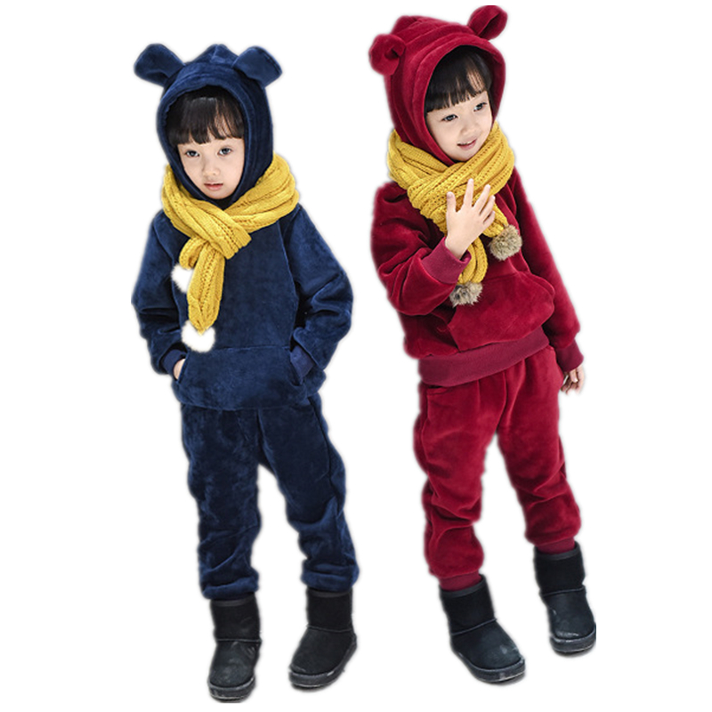 Autumn Warm Baby Kids Sports Suit for Girls Pleuche Hoodies Pants 2pcs Tracksuit Girls Boys Children Casual Clothing Set H119 lavla2016 new spring autumn baby boy clothing set boys sports suit set children outfits girls tracksuit kids causal 2pcs clothes