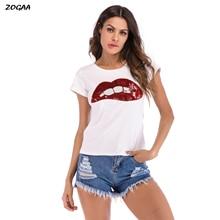 ZOGAA Summer Casual Sequin T-shirt Women Short Sleeve Sexy Lips Print Harajuku Shirt O-Neck Female Top Tees Streetwear Camis