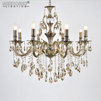 High Quality Modern Luxurious Crystal Chandelier Lights Bronze Color Hanging Lustres Lamp Suspension Lighting for Home Hotel