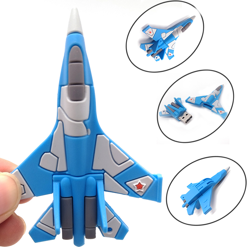 Airplane model pendrive usb2.0 flash drive cartoon helicopter memory stick u disk 64gb 32gb 16gb 8gb4gb real capacity pen drive image