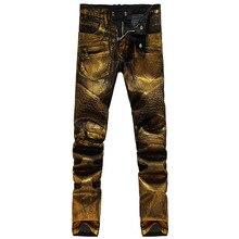 2016 New Men printing Nightclubs golden Jeans,Famous Brand Fashion Designer Denim Jeans Men,plus-size 28-38, casual jeans