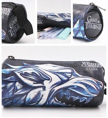 Game Of Thrones Dragon Round PU Wallet Student Stationery Pen Bag 18.5*8.5cm Make Up Bag Wallet Kids Gift