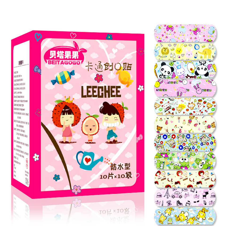 100PCs Waterproof Breathable Cute Cartoon Band Aid Hemostasis Adhesive Bandages First Aid Emergency Kit For Kids Children(China)