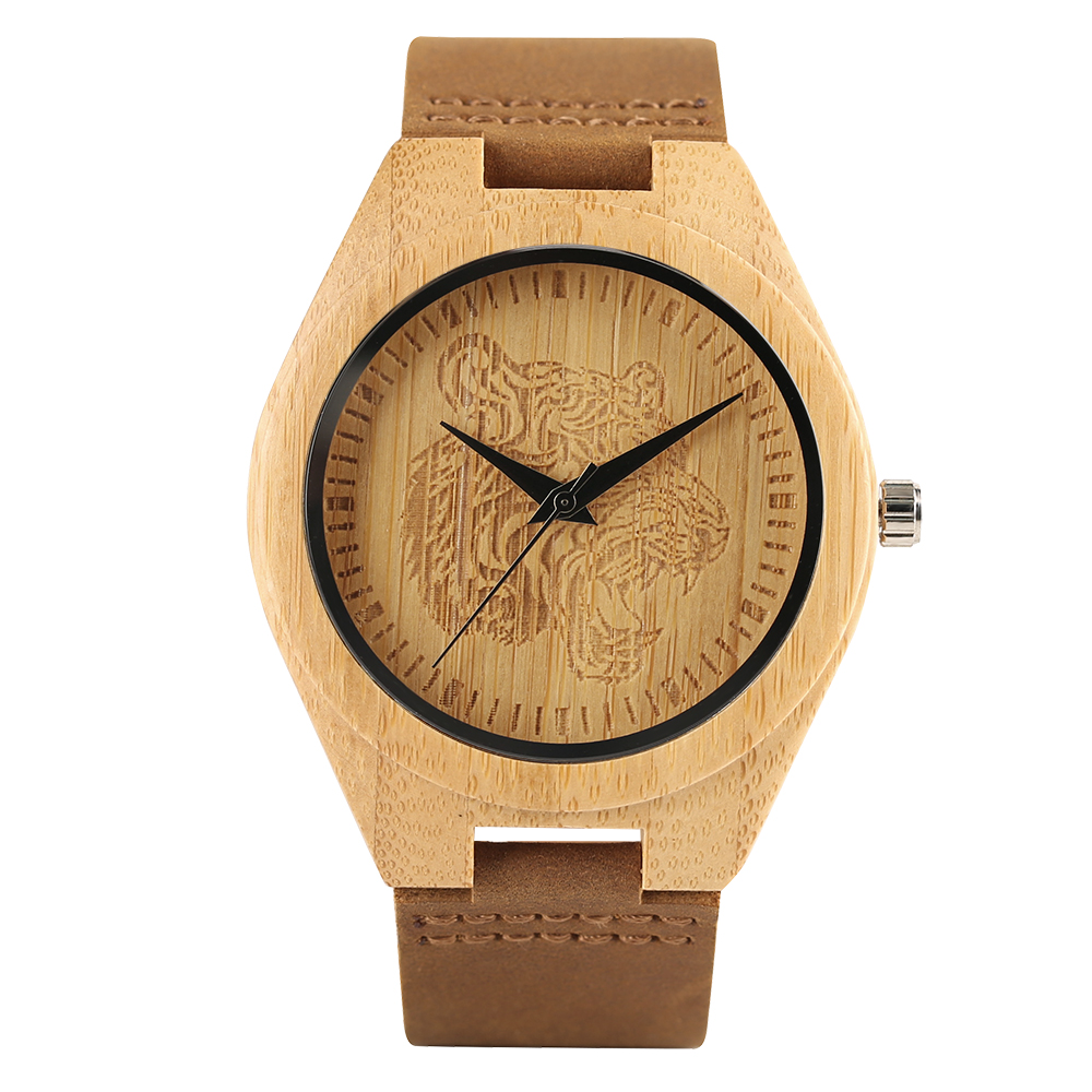 Natural Hand made Wooden Wristwatch Caving Tiger Head Wild Animal Tattoo Vintage Pattern Genuine Leather Quartz Watches