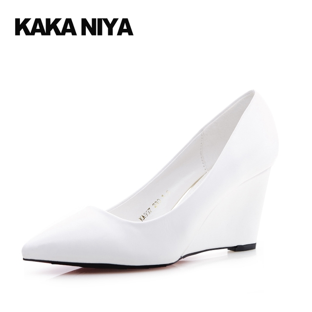 3 Inch White Pointed Toe Office Wedge Shoes Footwear High Heels Las Formal Work Slip On