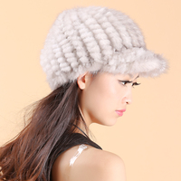 2016 thermal winter mink hair hat fur hat fur yarn knitted hat belt christmas fedoras