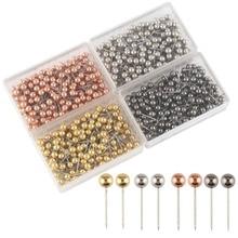 800 штук карты Tacks 1/8 дюймов Ретро пластик+ металлические бусины головы маркировки нажимные булавки, 4 цвета