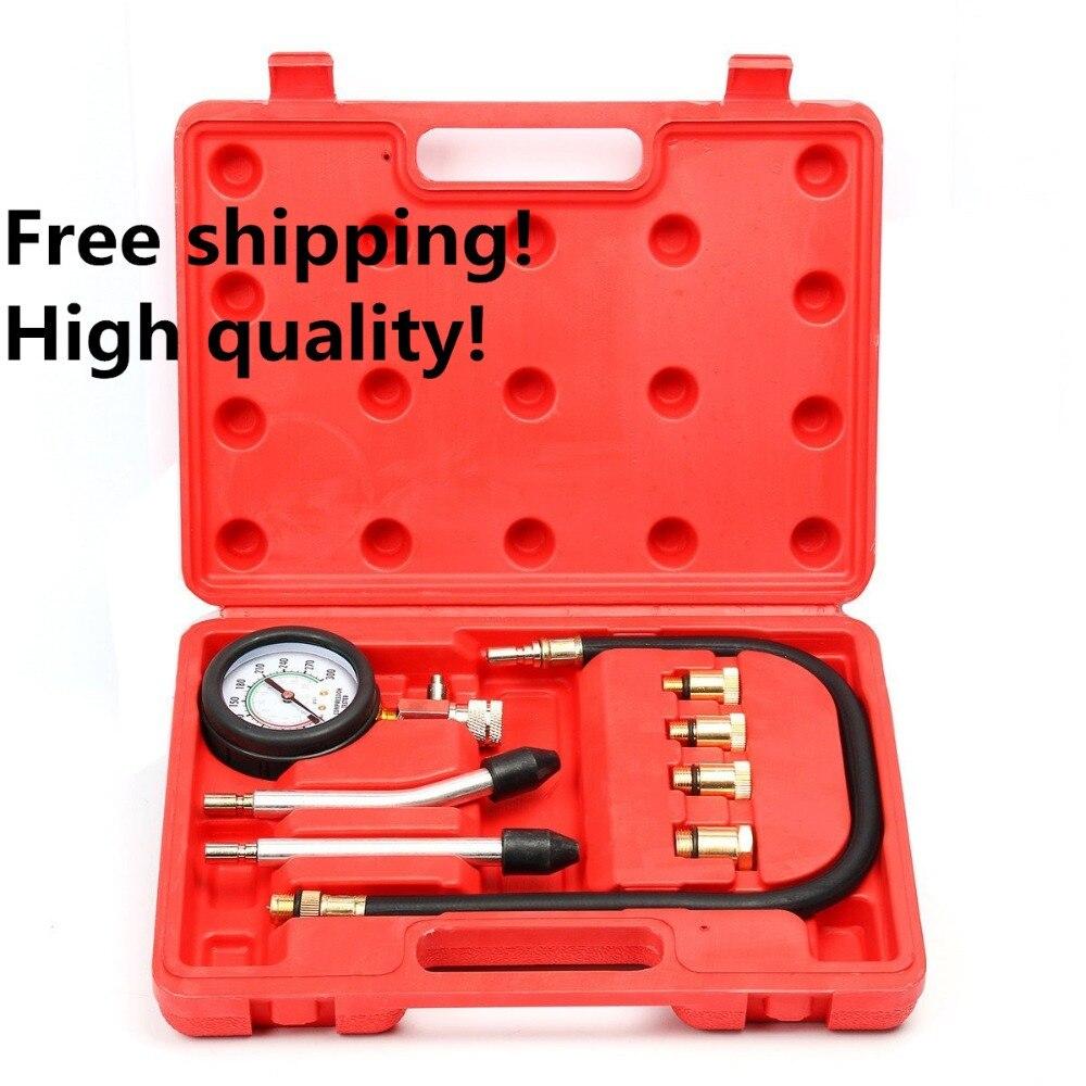 Motor Auto Benzin Motor Zylinder Manometer Diagnose Werkzeug Compression Tester Set Schnelle Typ Tester Kit Auto Tools Neue Heiße Gute WäRmeerhaltung