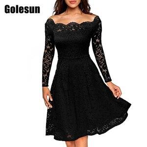 Высокое качество, женские повседневные платья с вышивкой, кружевные платья длиной до колен, с вырезом лодочкой, для работы или вечеринки