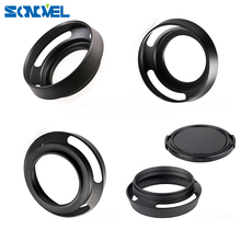 Metal Lens Hood 37/39/40.5/43/46mm  Screw in Lente Protect + Lens Cap For Leica Canon Nikon Sony Olympus DLSR