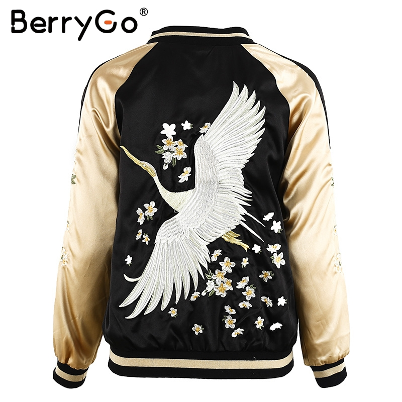 BerryGo Floral embroidery satin jacket coat Autumn winter street jacket women Casual baseball jackets reversible sukajan bomber