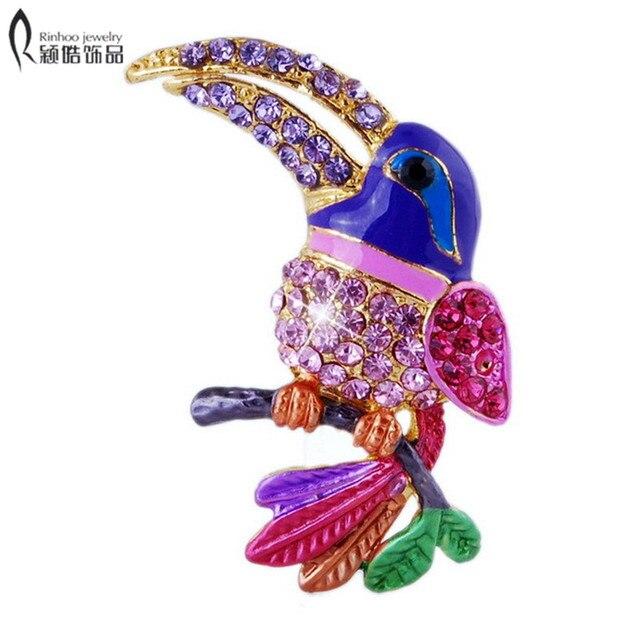 Colorful Rhinestone Enamel Parakeet Brooch (1pc) Bird Brooch Gift for Children w