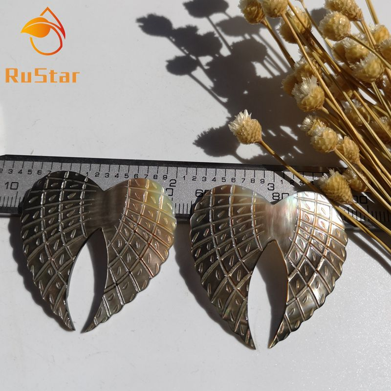 Mother Of Pearl Left Angel Wing Decor: 30pcs/lot 40mm Natural Black Angel Wing Mother Of Pearl
