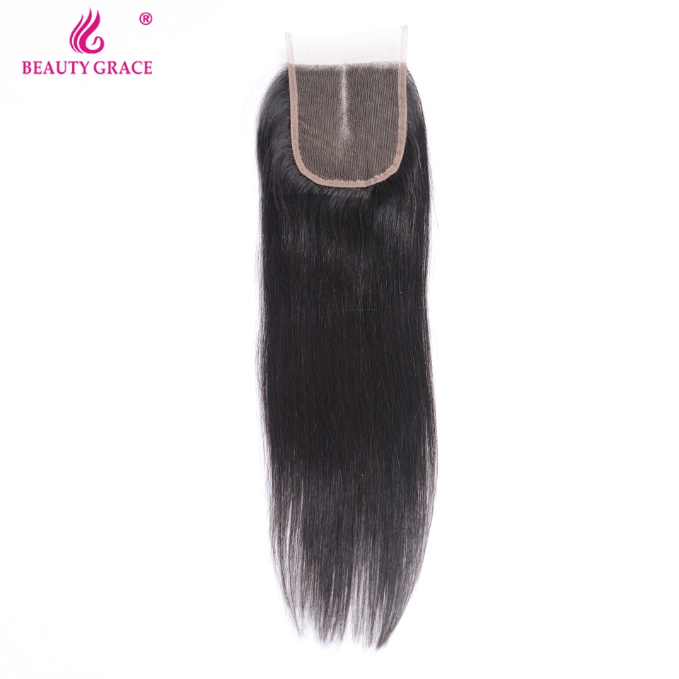 Beauty Grace Hair Brazilian Straight Hair Lace Closure Middle Part Remy Human Hair 4x4 inch Swiss Lace Top Closure Free Shipping