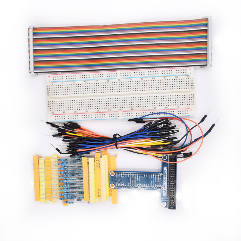 T Type GPIO Extension Board DIY Breadboard /Jumper Wire/Resistors/ Rainbow 40 Pin Flat Ribbon Cable for Raspberry Pi 2 3 Model B купить