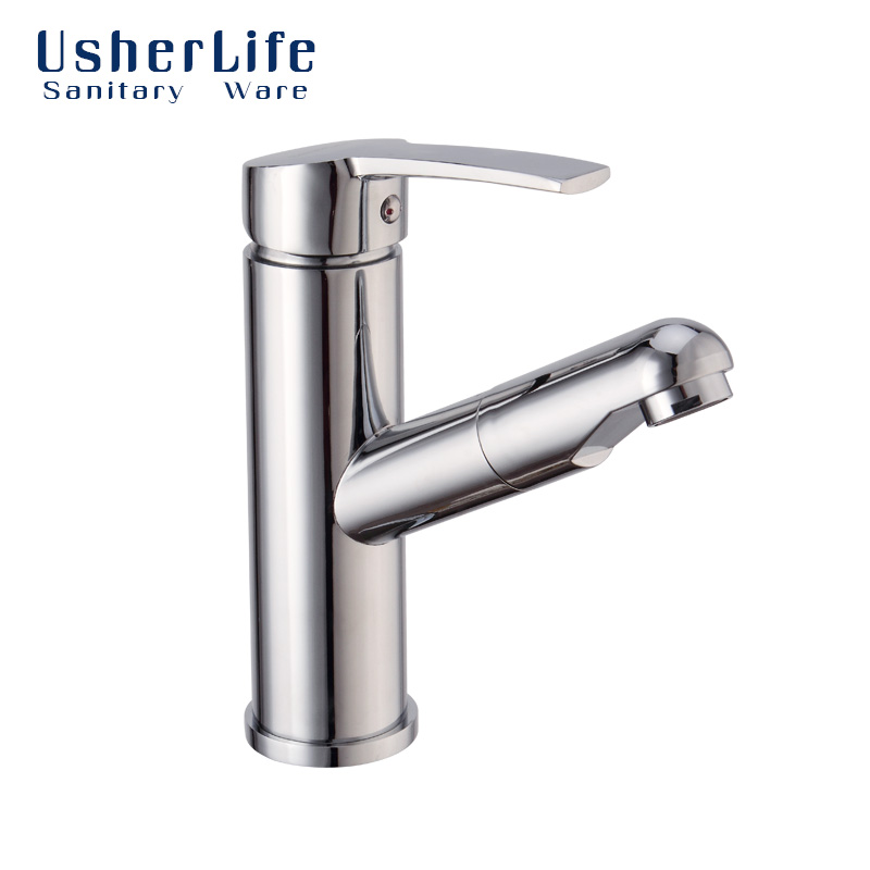 Chrome Brass Hot Cold Faucet Pull Out Bathroom Tap Single Lever Wash Sink Crane Copper Deck