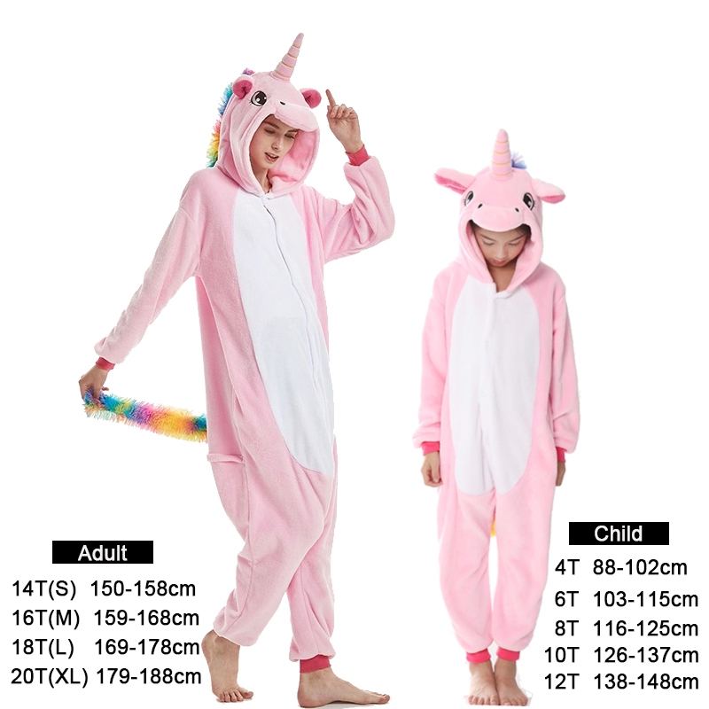 Kids Unicorn Pijama Adult Winter Pyjama Sleepwear For Women Boys Cartoon Homewear Onesie Kigurumi   Pajamas     Set   Baby Girls Clothes