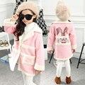 2015 winter cartoon Rabbit Girls overcoat kids casual turn down collar cardigan children long design pink woolen outerwear