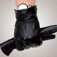 Men S Leather Gloves Genuine Sheepskin Gloves Fashion Thick Warm Winter Fashion Male Driving Gloves GR