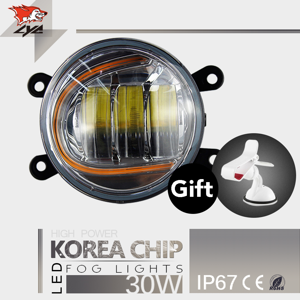 LYC 2PCS Low Beam Lights for Toyota  Led Car Accessory Lights 1800lm For Jeep Parts Fog Lights Round Fog Lamp Yellow 30W high quality lyc for jeep wrangler yj fog lights daylight running overhead fog lights for toyota nissan lights 30w 3000k 6000k