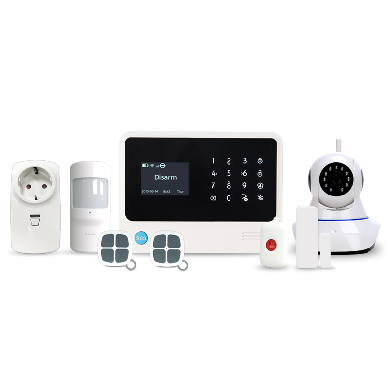 433MHz Alexa speaker alarm system G90B Plus with 2 SMS alert and 6 alarm call phone number WIFI/GSM security home alarm system