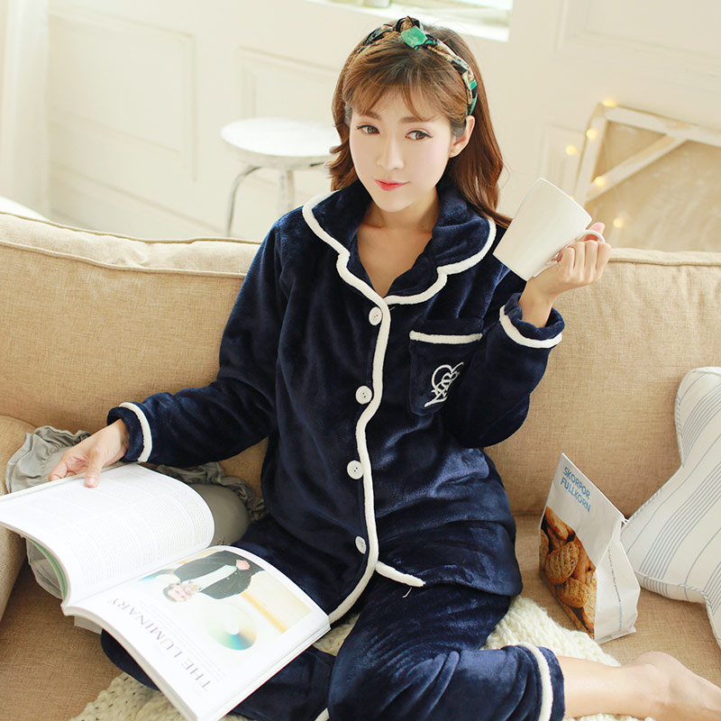Autumn winter Add wool Maternity Sleepwear Pregnant Women Pajamas Nursing Breast Wear Lactation Clothing For Feeding Nursing long sleeve cartoon bear thick flannel maternity clothing pajamas sets breast feeding home wear nightwear factory price