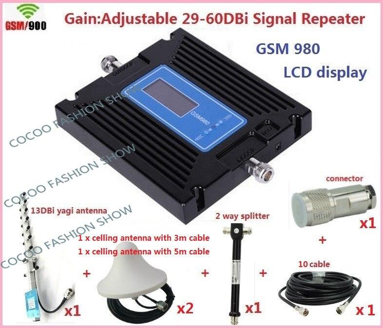 Offre spéciale réglage à gain élevé répéteur GSM GSM980 900 mhz amplificateur de Signal Mobile répéteur de signal GSM amplificateur de téléphone portable + antenne