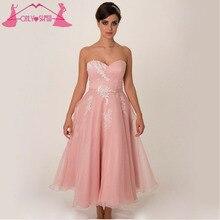 Cheap Tea-Length Bridesmaid Dresses Formal Vestido De Festa De Casamento Sweetheart Lace Applique Chiffon Pleated Back Zipper
