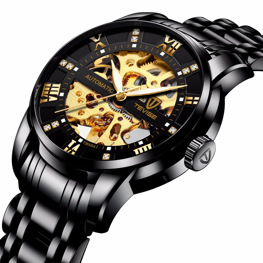 Tevise Luxury Women Girl Phoenix Cyrstal Skeleton Dial Auto Mechanical Wristwatch Gift Box Free Ship reloj hombre jaragar fashion watch mens moonphase flywheel auto mechanical stell wristwatch gift box free ship