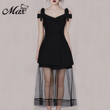 Max Spri 2019 New Fashion Solid Black Sexy V-neck Cold Shoulder A-Line Splice Mesh Hem Women Party Dress