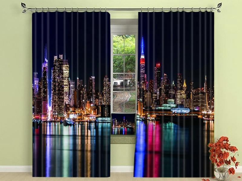 New York night city night gordijnen blinds draper photo print Zwarte ...