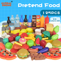 125Pcs/lot Fruits and Vegetables Toys Kitchen Toy Pretend Food for Children boys Pizz Ice cream