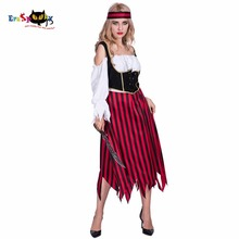 ФОТО Women Sexy Vintage Medieval Pirate Costume Cosplay Striped Dress Party Fancy Dress Clothing for Female Adult Halloween Costumes