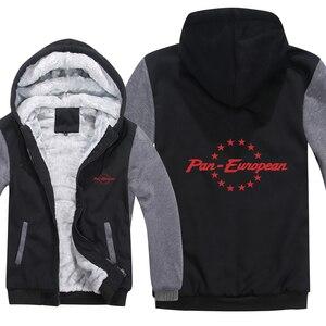 Image 5 - Pan europejskiej bluzy z kapturem męskie zimowy zamek błyskawiczny płaszcz z polaru zagęścić Pan europejski bluza z kapturem ciepła kurtka