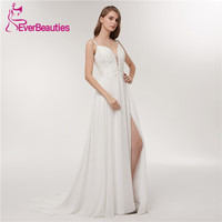 Spaghetti Strap Beach Wedding Dresses 2018 Deep V Neck Bridal Gown Simple White Chiffon Backless Custom