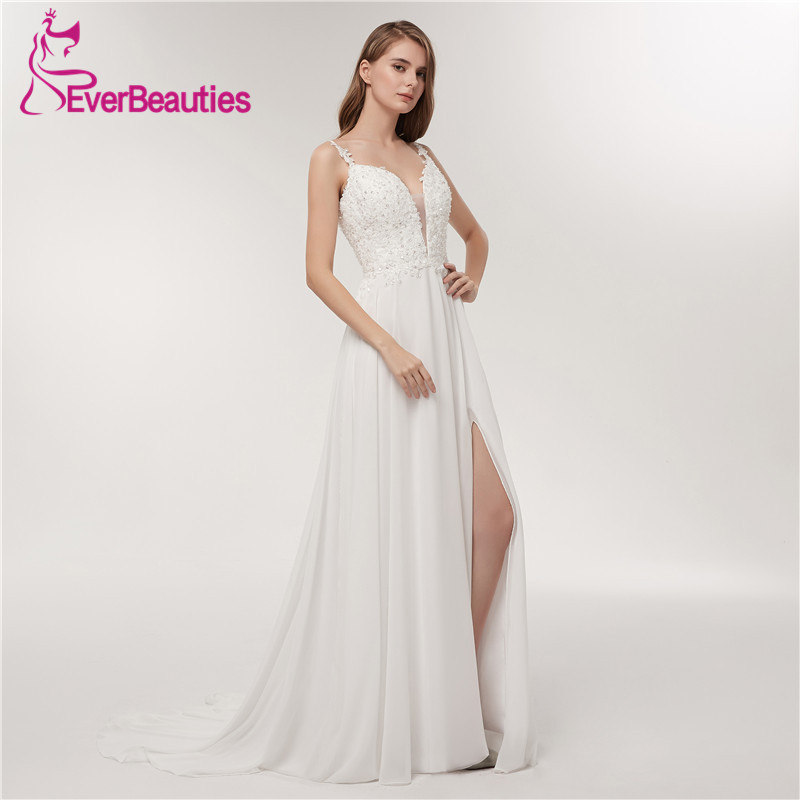 Spaghetti Strap Beach Wedding Dresses 2018 Deep V-Neck Bridal Gown Simple White Chiffon Backless Custom Made Vestido De Noiva