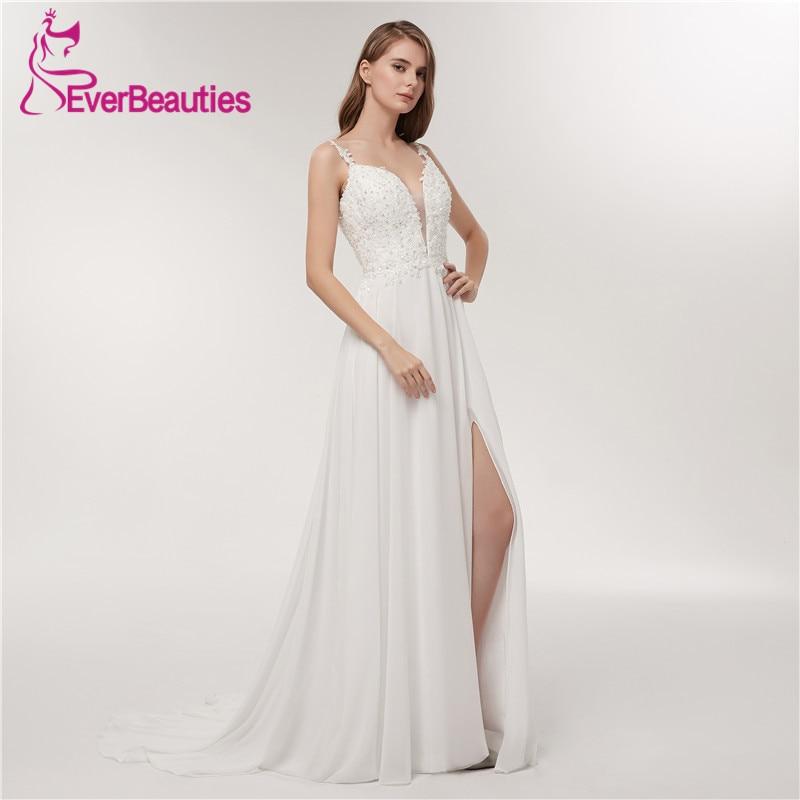 04562db5bea Σπαγγέτι λουρί φόρεμα νύφης φόρεμα 2018 βαθύ νυφικό φόρεμα ν-λαιμών απλό  λευκό ...