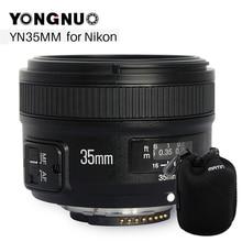 Светодиодная лампа для видеосъемки YONGNUO YN 35 мм F2 Камера объектив для Nikon D750 D3100 D5100 D5300 D3200 Canon 6D EOS 650D 60D 5D Mark II 5D 550D 200D 1100D