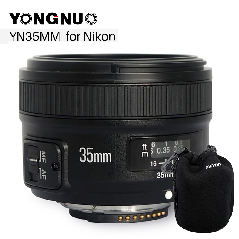 YONGNUO YN 35mm F2 Camera Lens YN35MM Lenses 1:2 AF MF Wide-Angle Fixed Prime Auto Focus Lens for Nikon Canon D5500 EOS
