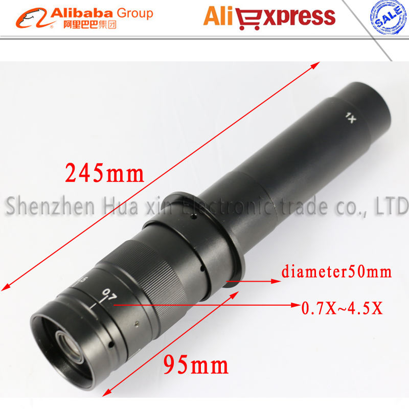 Free shipping Max 300x Zoom C-mount Glass Lens Adapter 4.5X Adapter for Industry Microscope Camera Eyepiece Magnifier