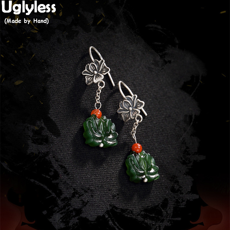 Uglyless 100% Real 925 Sterling Silver Handmade Natural Green Jade Lotus Earrings Exotic Thai Silver Flower Earrings Gemstones