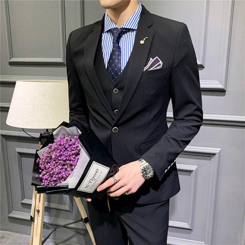 1.1 3,,108,Men\`s suit fashion solid color suit 3 piece set (jacket + pants + vest) wedding groom groomsmen dress men\`s business casual suit