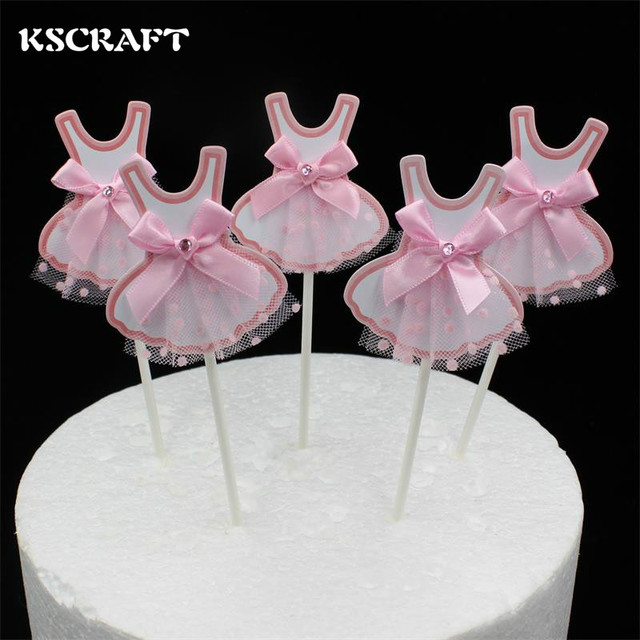 Aliexpress Buy Kscraft Pink Girl Dress Cupcake Toppers