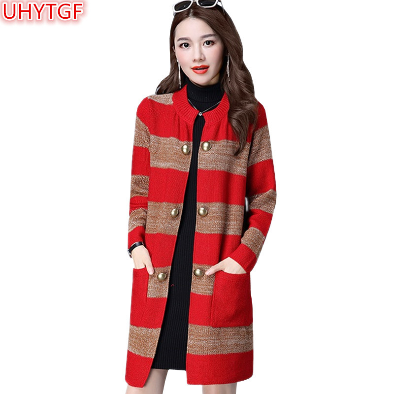 UHYTGF Knit Sweater Women Tops Spring Autumn Coat Women Clothing long cardigan Jacket Double-breasted Knitted Sweater Coats 994